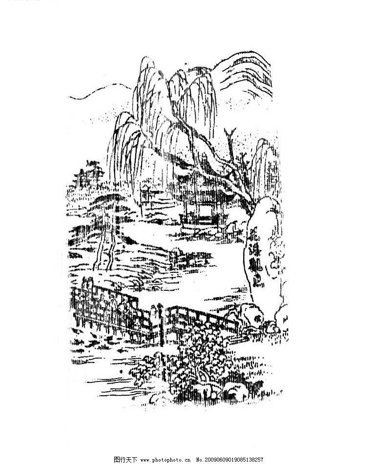 花巷观鱼 黑白版画 文化艺术 绘画书法 设计图库 72dpi jpg图片