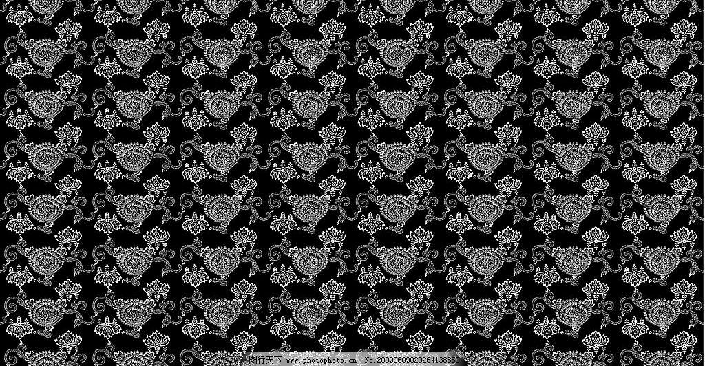 高清晰黑底白色花纹背景图图片