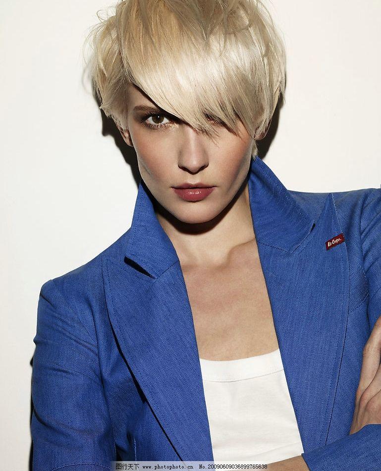 发型模特 女性 模特 发型 美发 时尚 短发 酷 造型 中性 人物图库