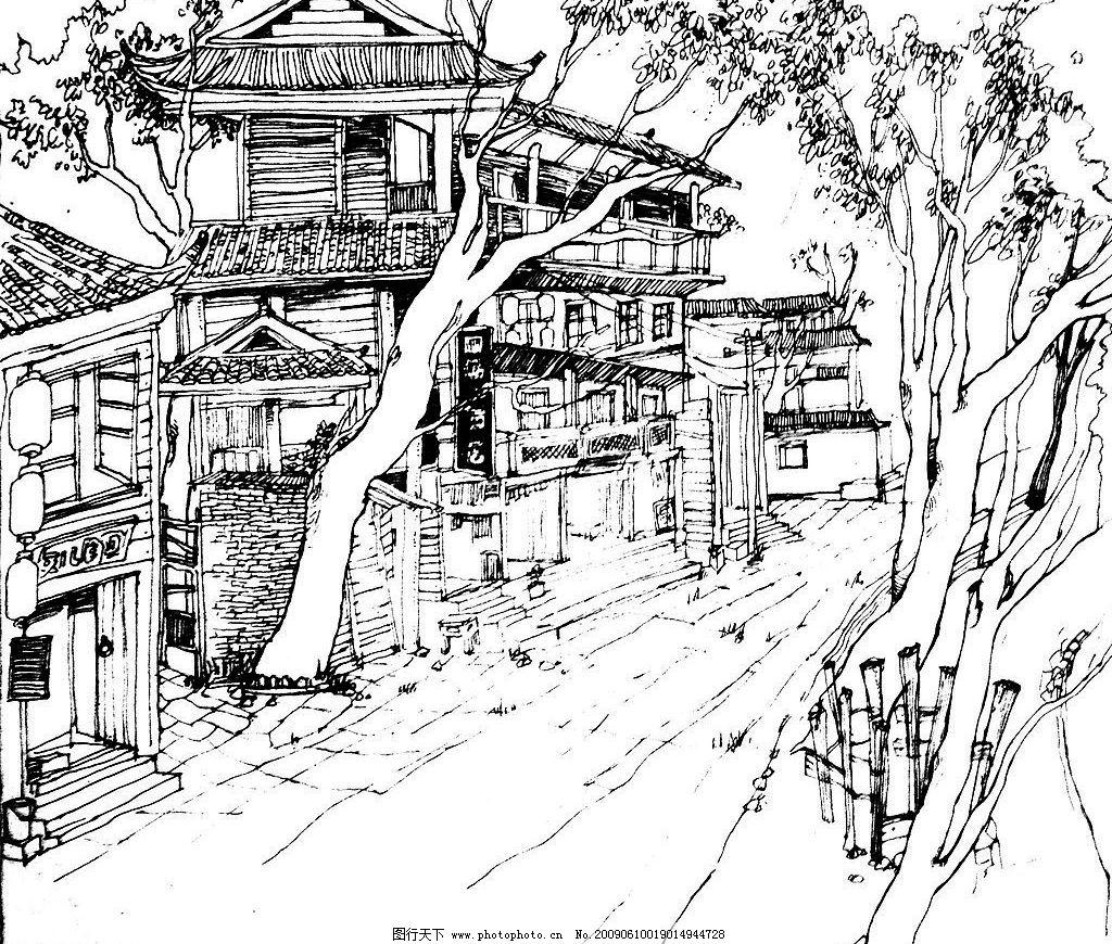 风景速写 风景 房子 树 速写 文化艺术 绘画书法 设计图库 150dpi jpg