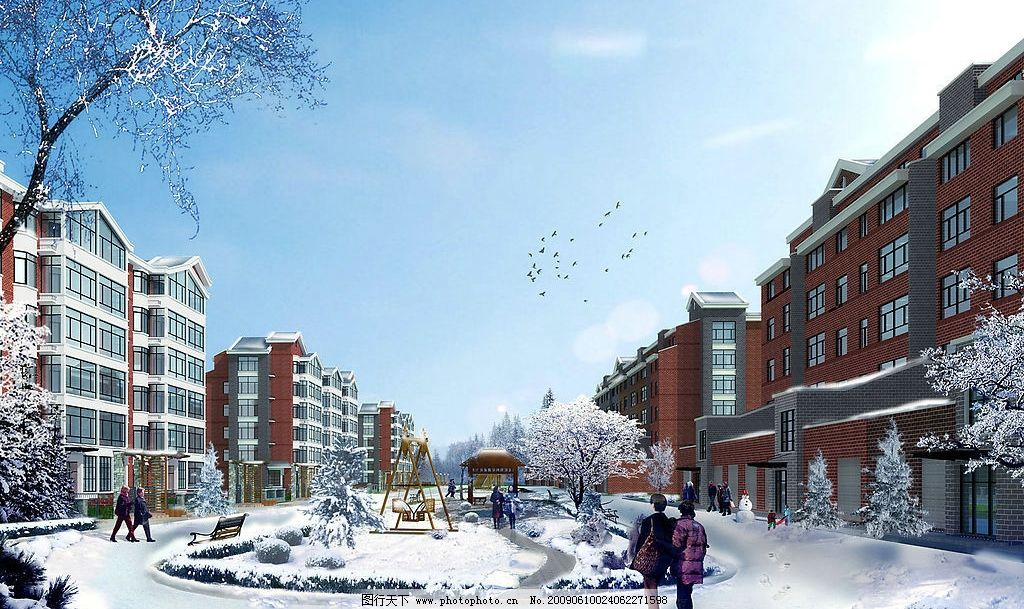 建筑雪景效果图图片