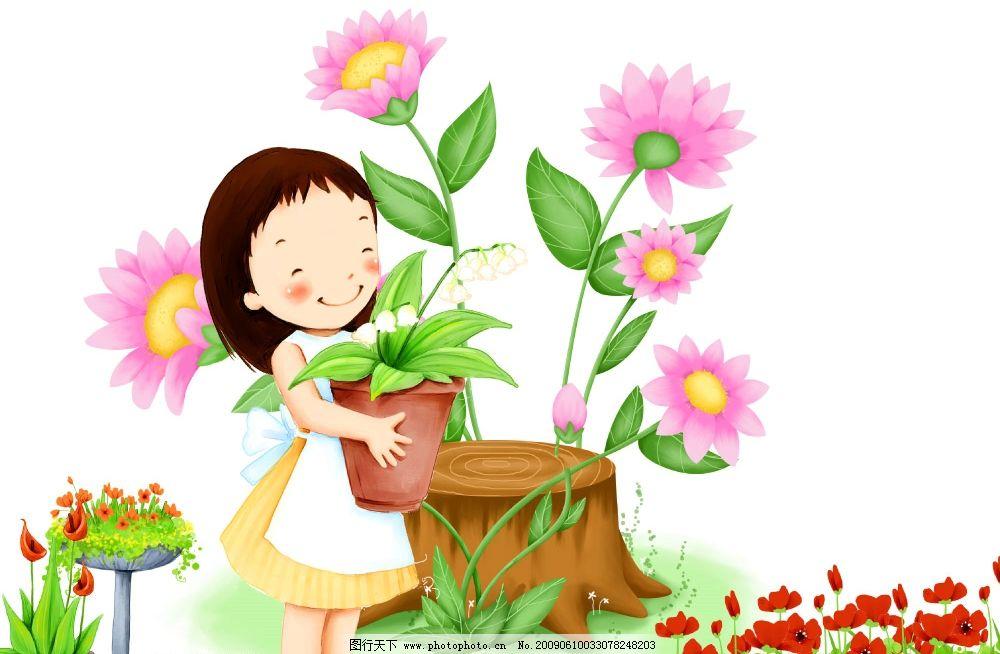 卡通画 花朵 花儿 鲜花 漂亮的花朵 孩子 女孩 搬花 可爱娃娃 花盆 源