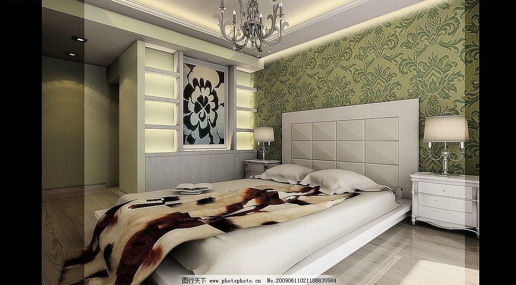 室内装潢设计 新古典 吊灯 床 枕头 台灯 床头柜 3d设计 3d作品 设计图片