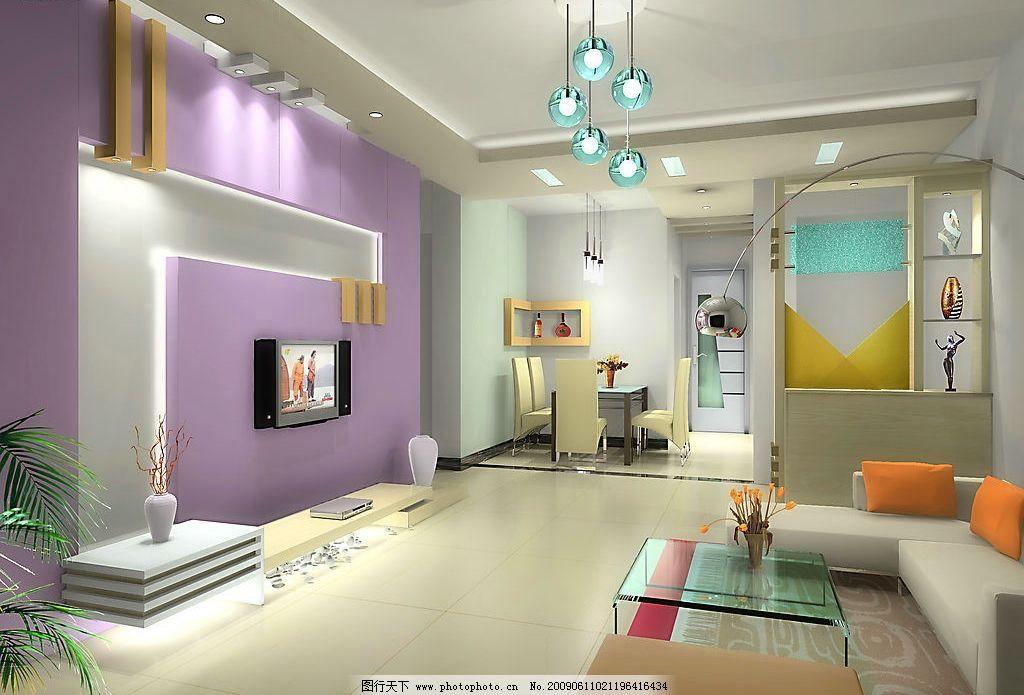 客厅设计 室内 设计 装饰 简约 电视墙      餐厅 3d设计 设计图库 72