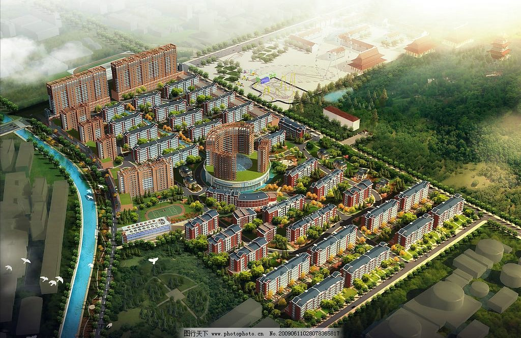地产 高楼 楼房 草地 绿地 房子 高楼大厦 蓝天 花 树 环境设计 建筑