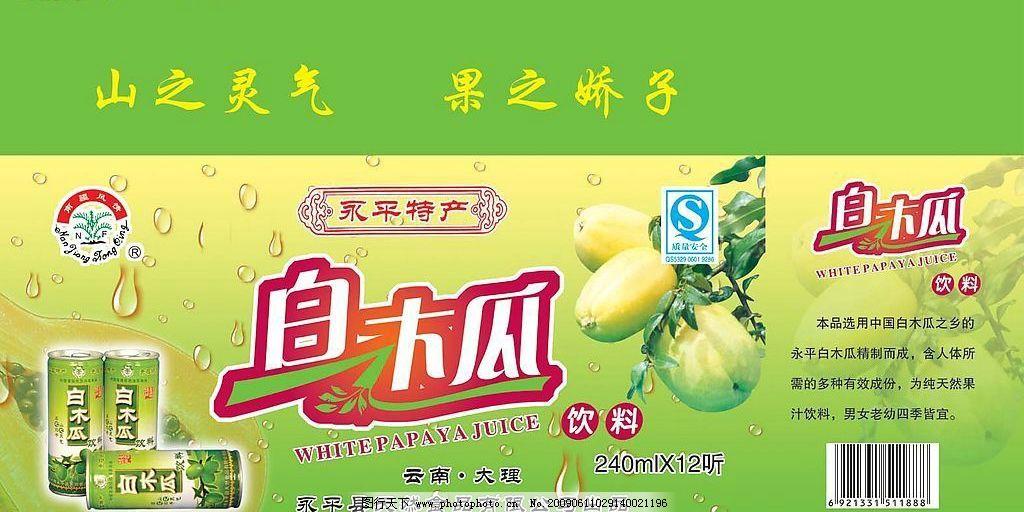 白木瓜饮料包装盒 水珠 永平特产 山之灵气 果之娇子 源文件库