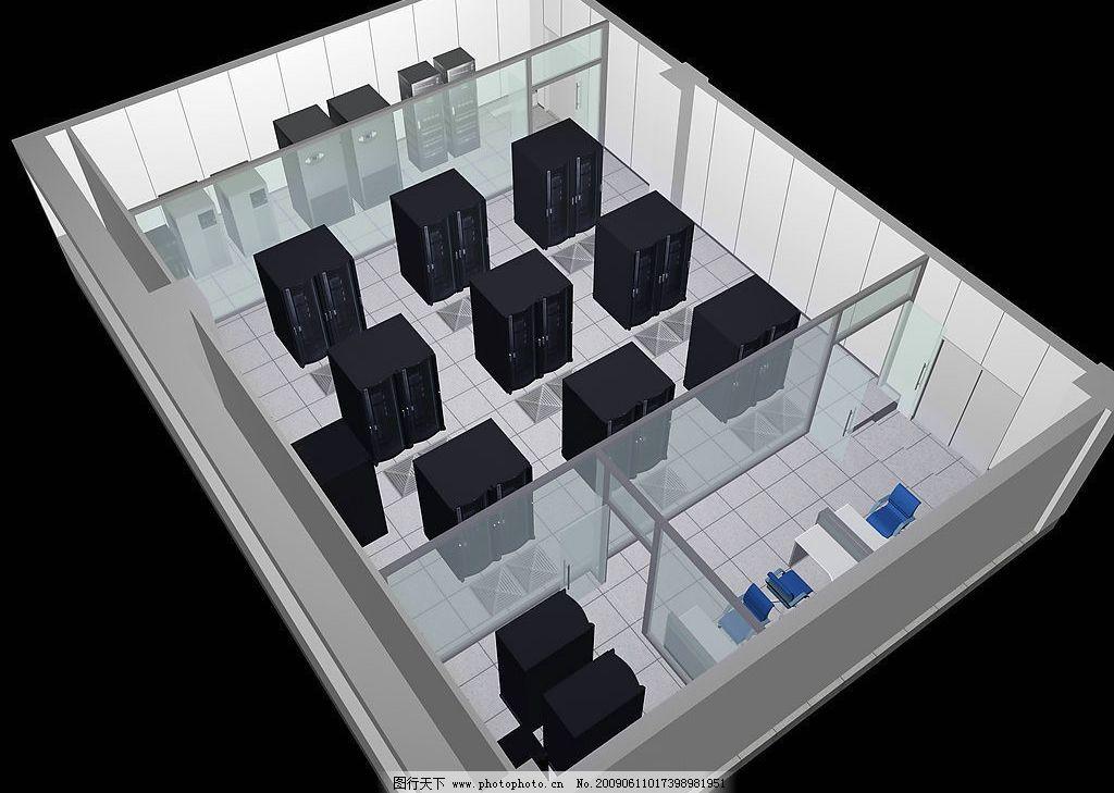 计算机机房鸟瞰图 计算机 机房 现代科技 其他 设计图库 72dpi jpg