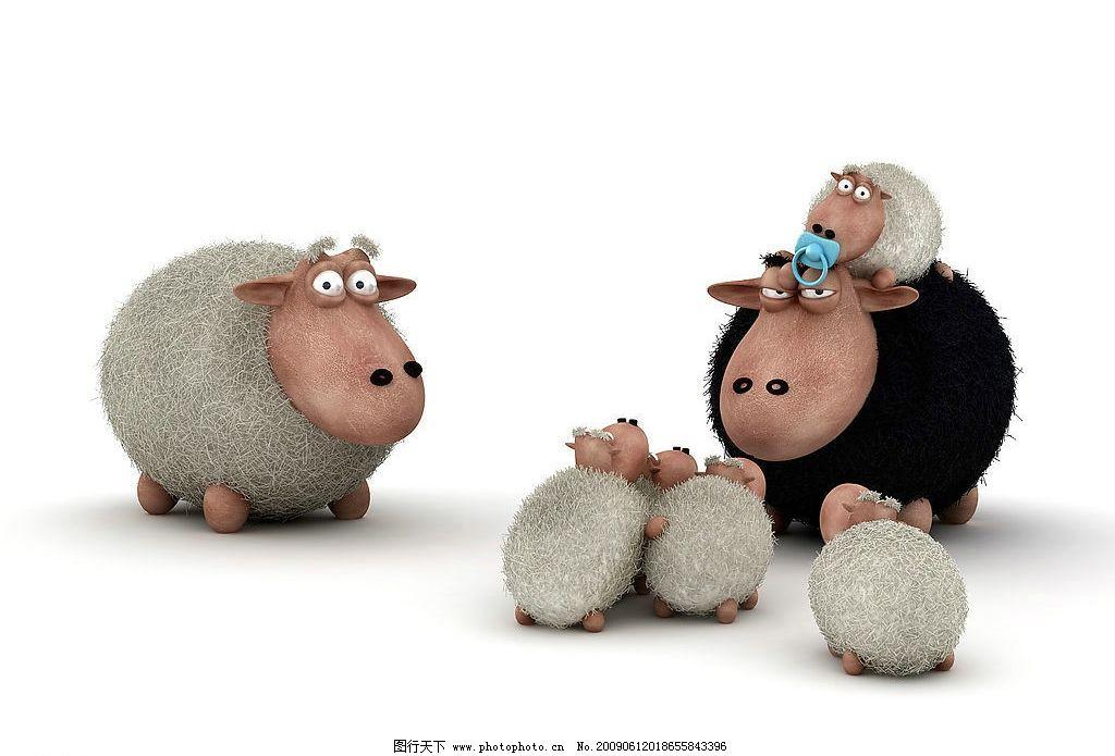 黑白羊 羊 卡通 卡通羊 小羊 可爱 动漫动画 其他 设计图库 300dpi