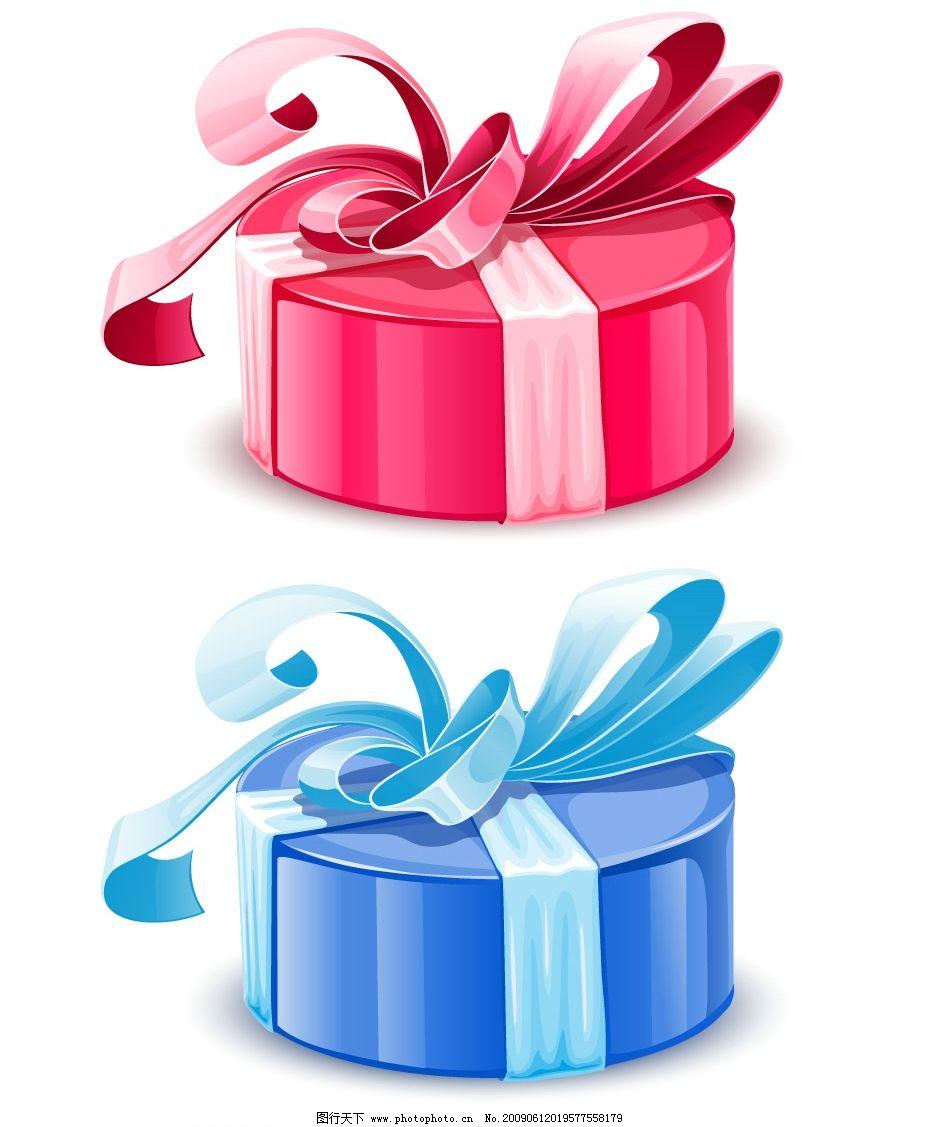 礼品包装矢量素材 圆形盒子 礼盒 礼物 绸带 丝带 包装带 节日