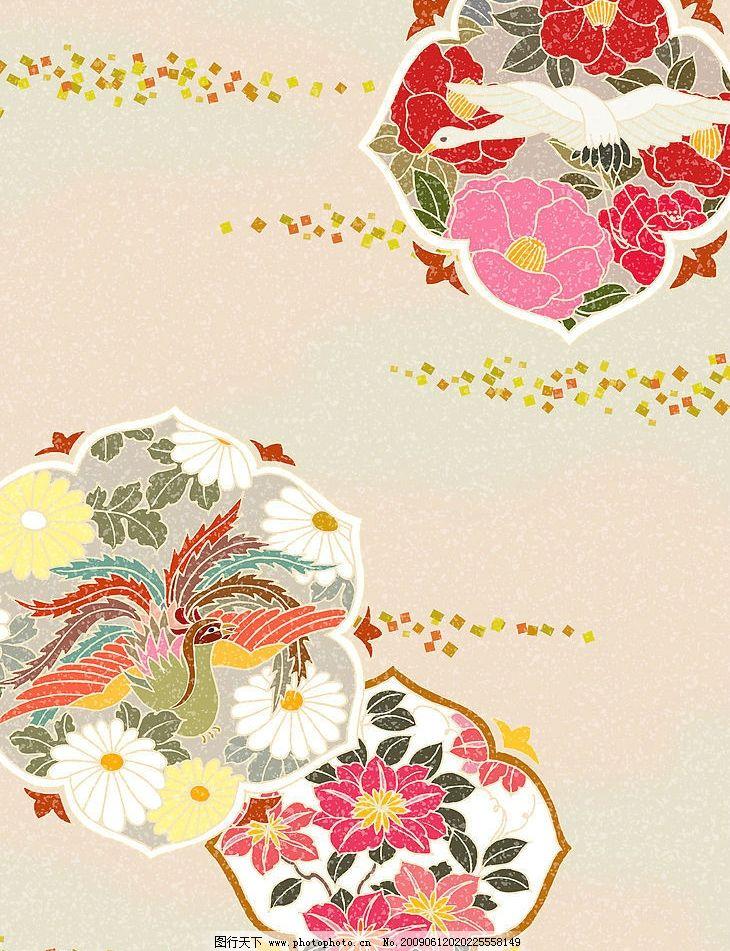 凤凰花纹 凤凰 菊花 鹤 古镜纹 山茶花 日本风格中的色彩 底纹边框