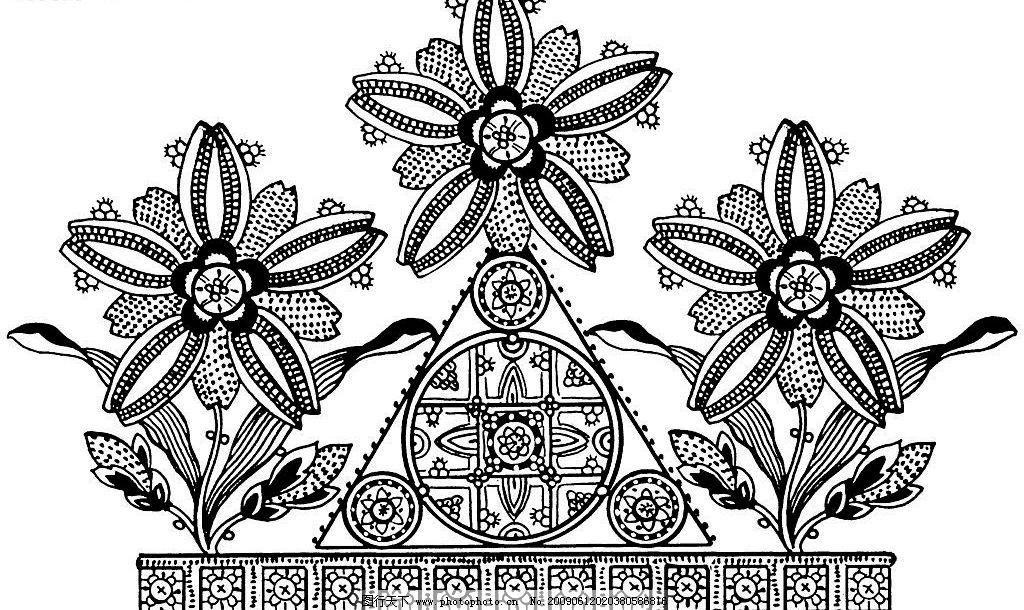 西方宫廷蕾丝 古典 黑白 花卉 蕾丝 图案 底纹边框 花边花纹 设计图库