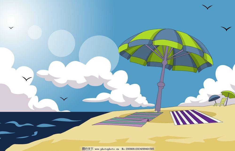 沙滩 风景 海边 自然景观 山水风景 矢量图库 ai