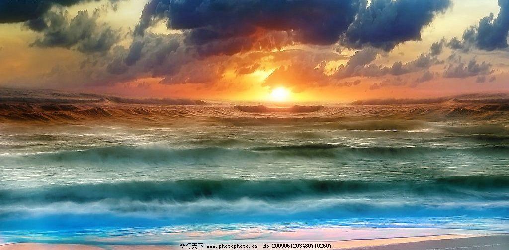海上日出 海边风景 美丽风景 海边 沙滩 海水 蓝天 白云 云层 天空
