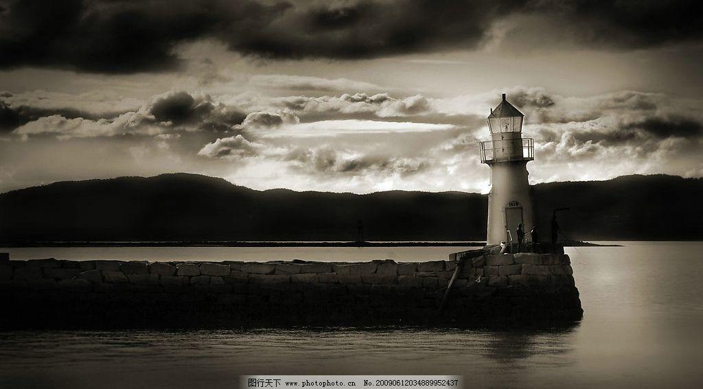 灯塔 黑白 大海 云朵 自然景观 自然风景 摄影图库 72dpi jpg