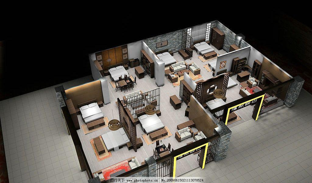 俯瞰效果图 专卖店俯瞰效果图 家具 床 沙发 厅柜