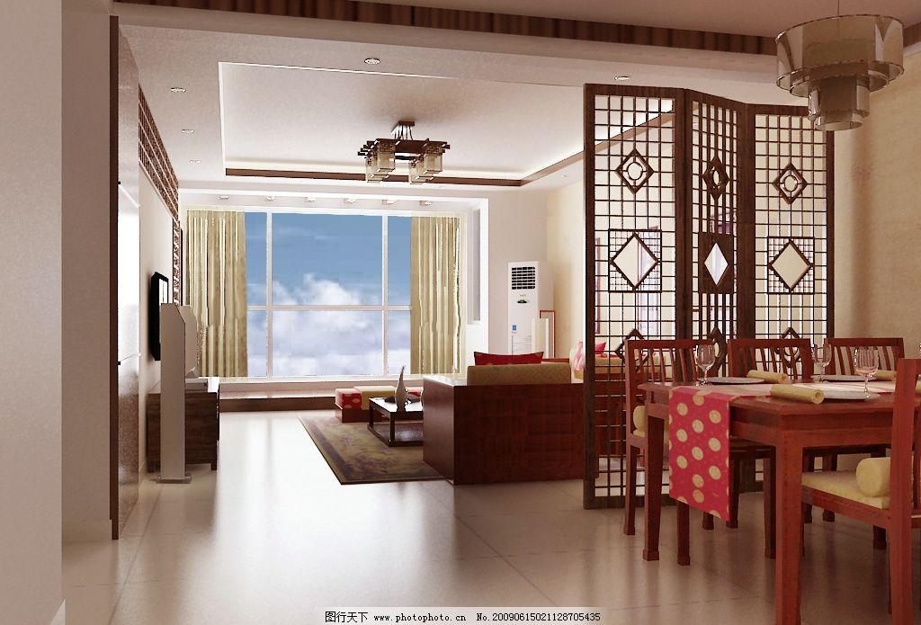 古典風格餐廳客廳 古典餐桌 餐椅 古典隔斷 沙發 電視柜 電視墻