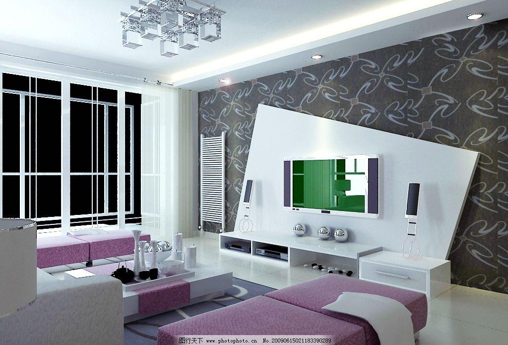 客厅效果图      造型电视墙 电视柜 饰品 不锈钢球 沙发 茶几 地毯