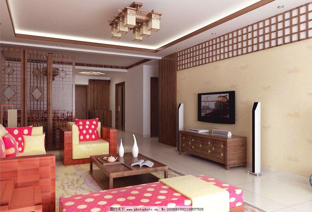 古典风格客厅效果图 古典沙发 古典电视柜 古典茶几 隔断 饰品 音响