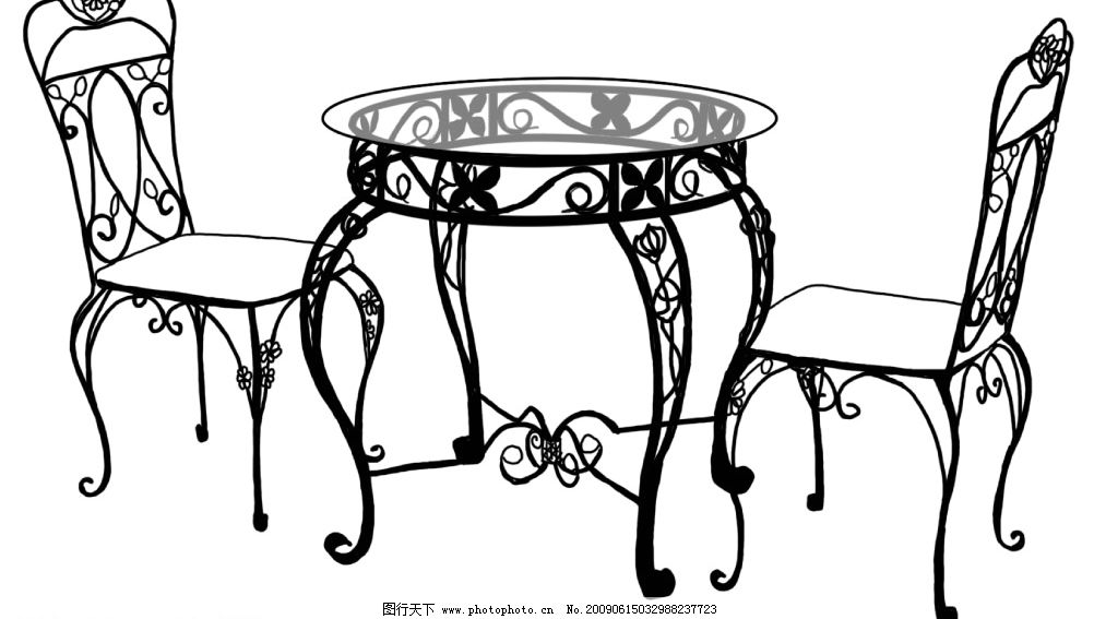 欧式圆茶几和椅子 手绘