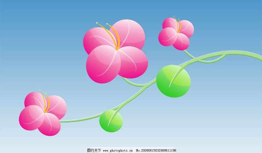 漂亮小花 花朵 花枝 绿叶 可爱 红色 鲜艳 漂亮 植物 psd分层素材