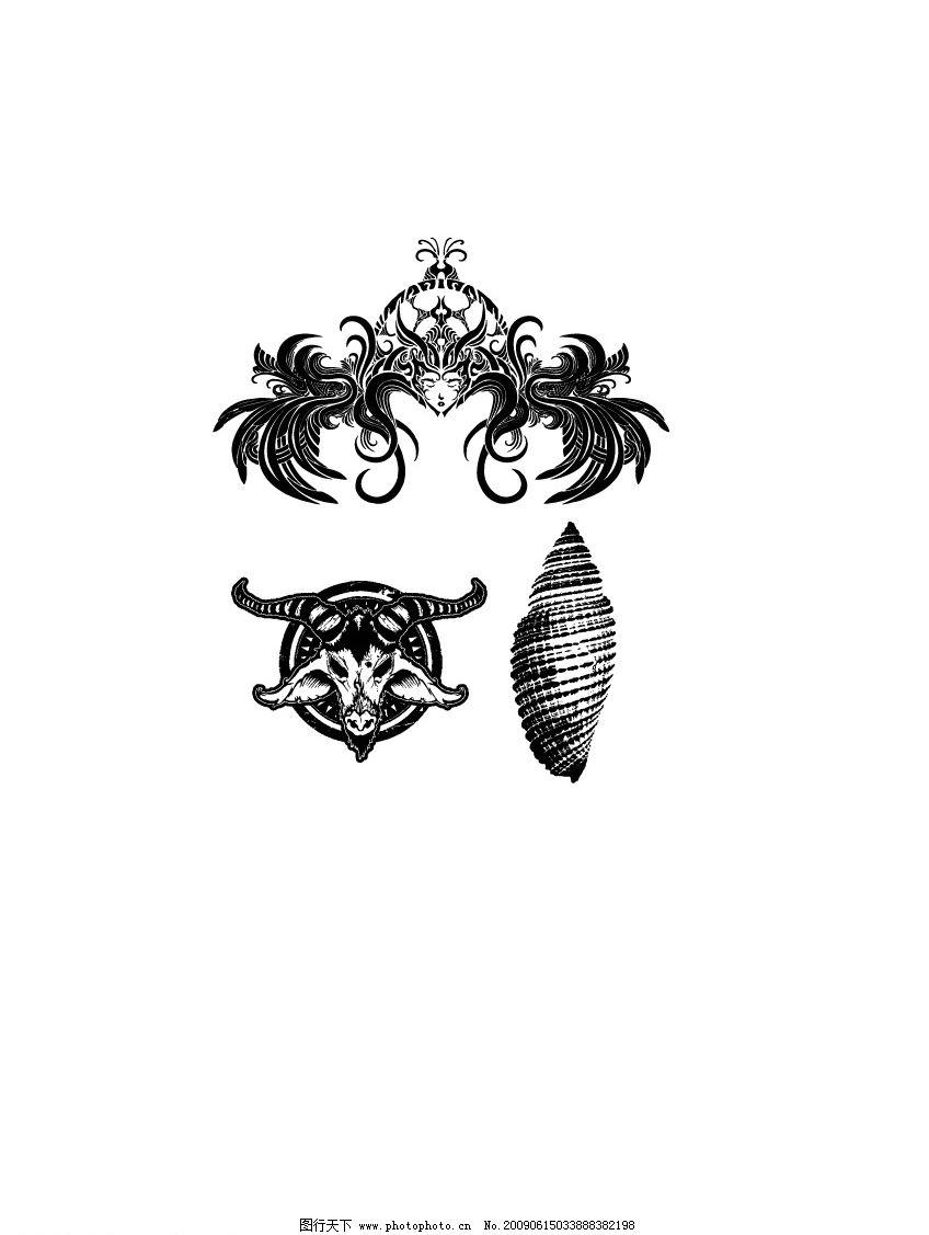 人头羊头海螺 人物 头发 女 黑白 矢量 其他矢量 矢量素材 矢量图库
