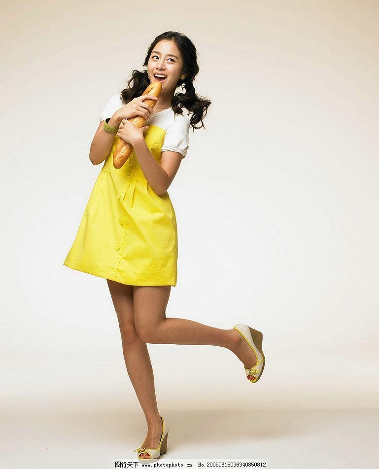 金泰熙 面包广告 可爱 美女 韩国 明星 黄裙 写真 kimtaehee 人物图库