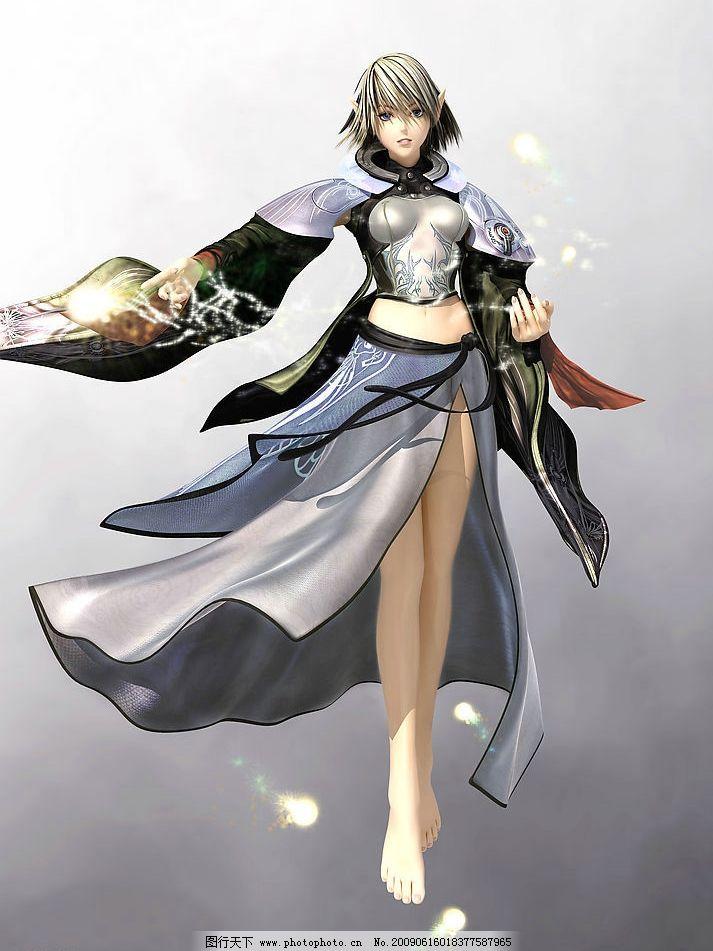 动漫人物 3d 侠女 游戏 风衣 女孩 动漫 动漫动画 设计图库 72dpi jpg