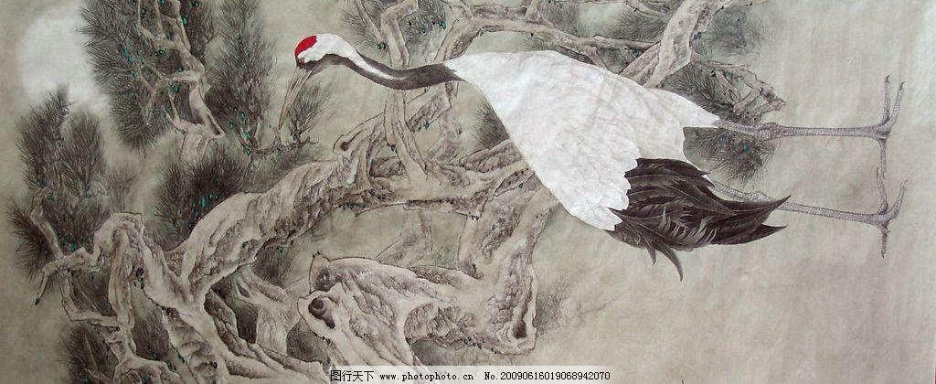 风月无边 国画 工笔 花鸟 杨福镇 丹顶鹤 松树 背景 天空 月亮 文化