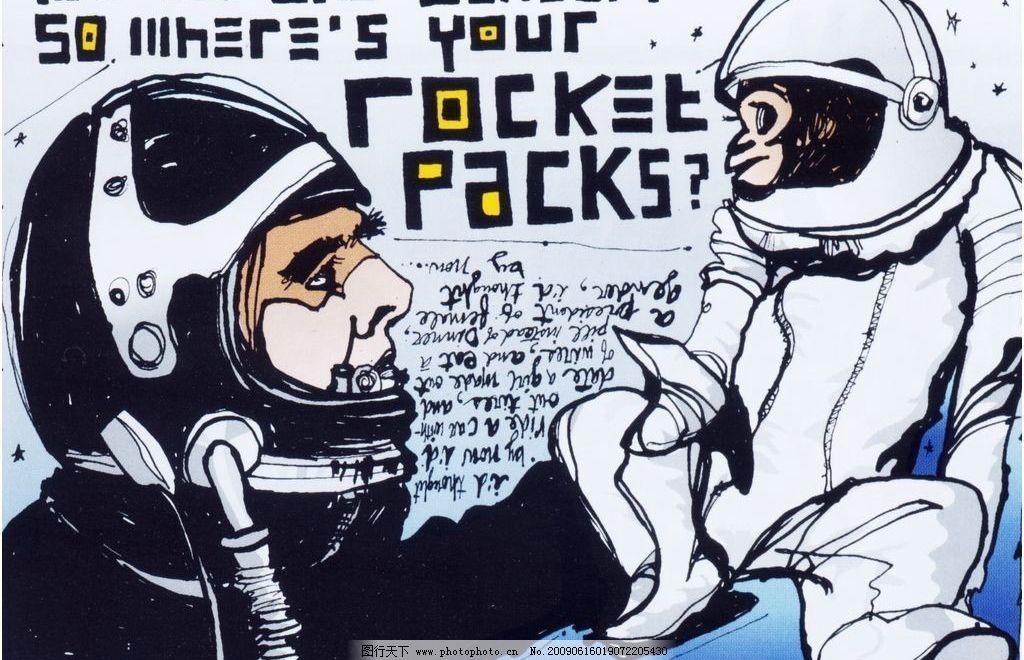 宇航员 卡通 黑白 人物 欧美 手绘 其他 图片素材 设计图库 72dpi jpg