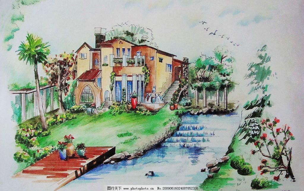建筑外观 马克笔 彩铅 自然景观 自然风光 设计图库 72dpi jpg