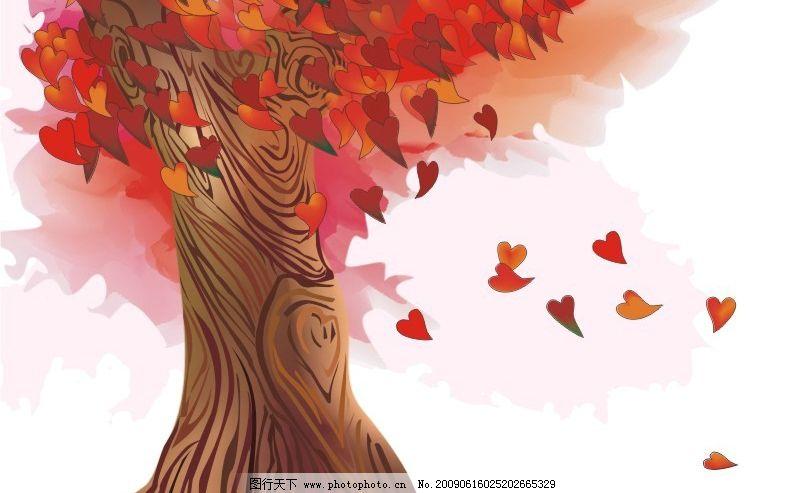 卡通枫叶飘落 秋天 树木 树叶 其他矢量 矢量素材 矢量图库