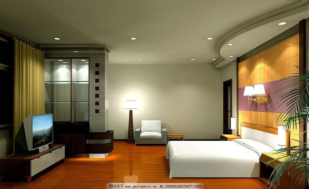 卧室效果图 实木地板 窗帘 电视机 沙发 床 台灯 吊顶 环境设计 室内
