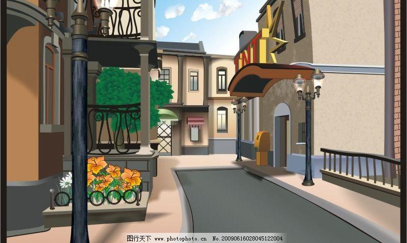 卡通街道场景 街道 卡通 路灯 城市 建筑家居 城市建筑 矢量图库 cdr