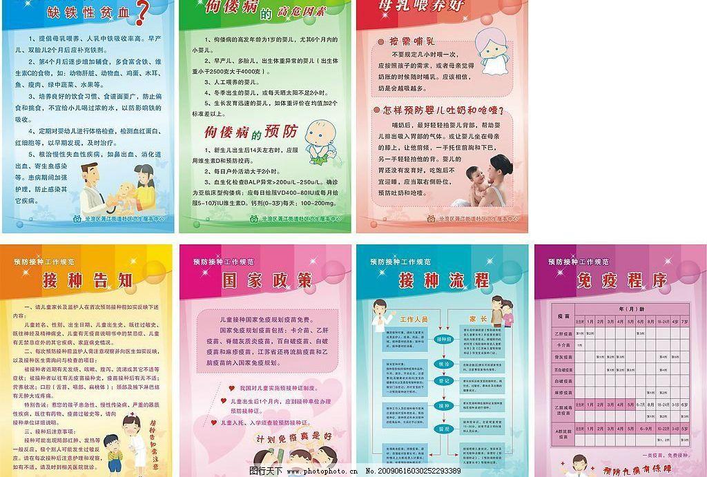 婴儿保健 预防接种 母乳 接种流程 佝偻病预防 小儿贫血 卫生展板