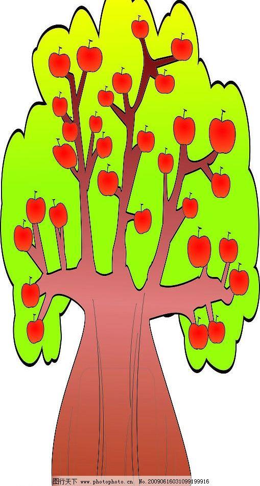 果树 苹果树 儿童 绘画 幼儿园 广告设计 其他 设计图库 72dpi jpg