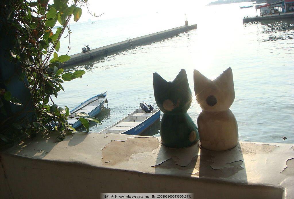 岸边景色 河岸 海边 船 夕阳 落日 小猫 黄昏 背影 旅游摄影