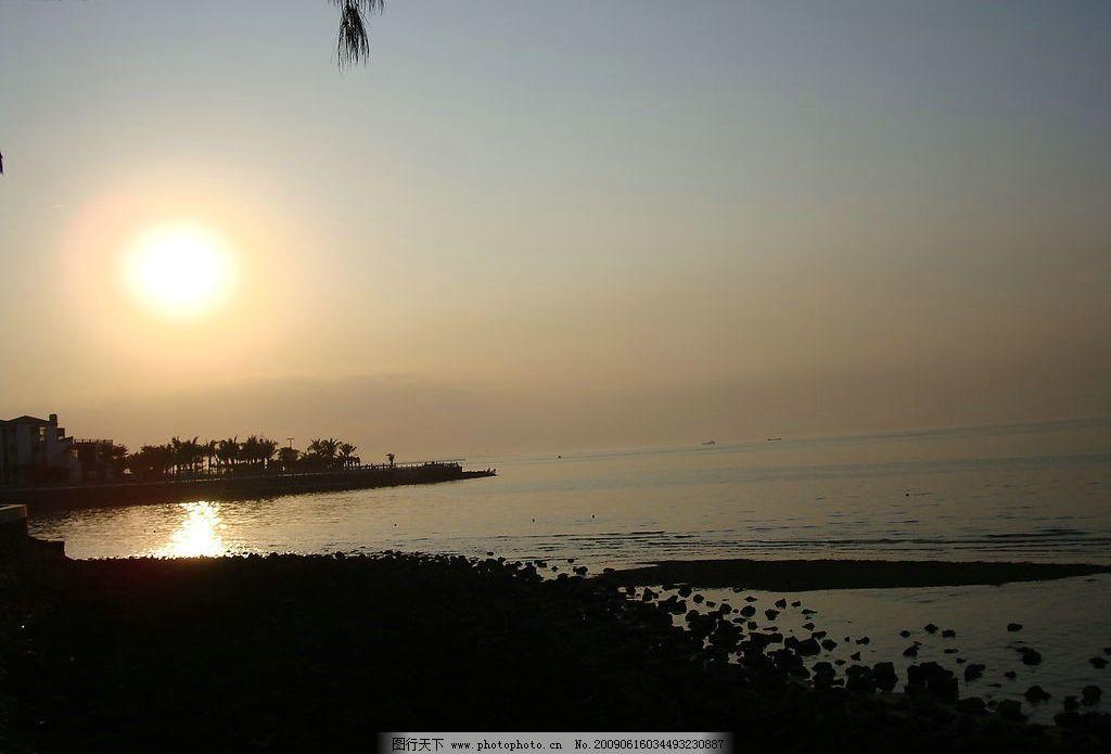 夕阳 沙滩 椰树 自然景观 山水风景 摄影图库 72dpi jpg