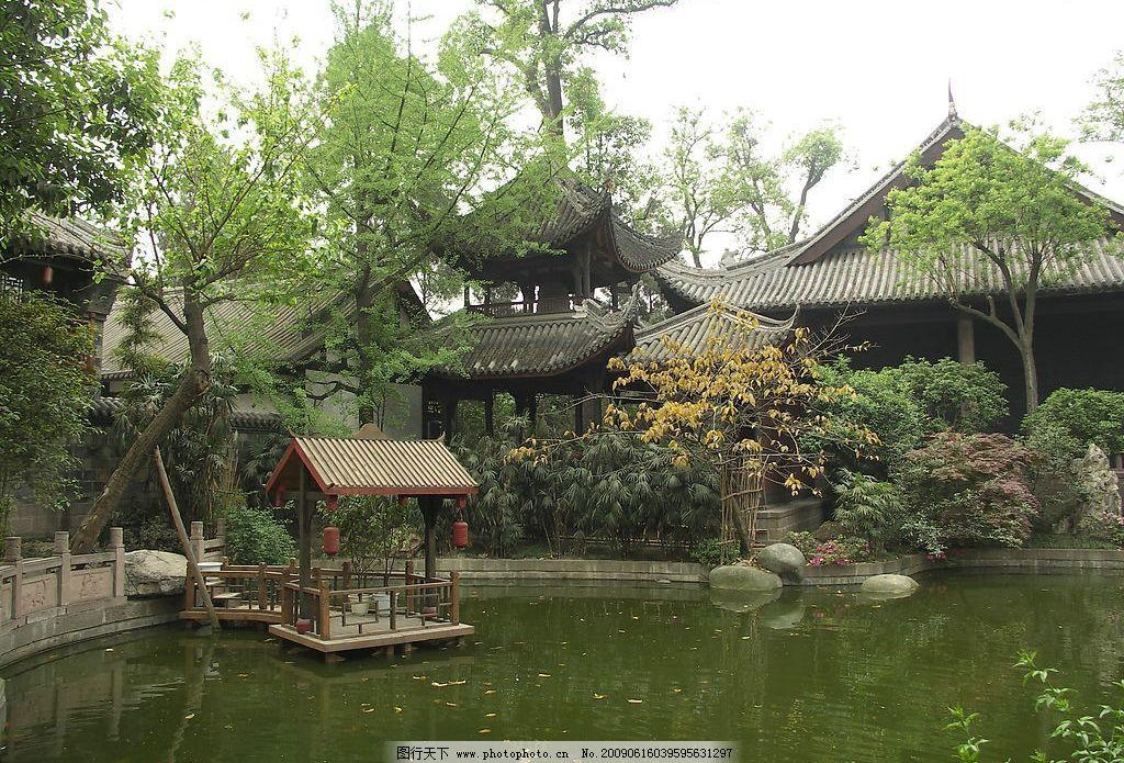 亭台楼阁 亭 台 楼 阁 园林 水池 树木 古典 建筑 休闲 仿古 建筑园林