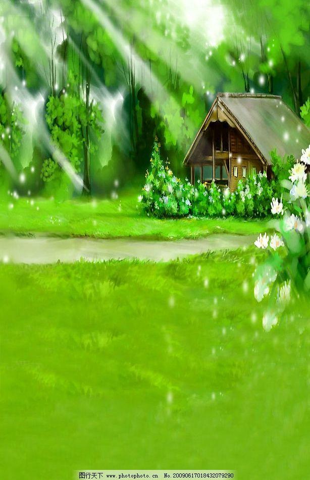 森林里的绿色小木屋图片图片