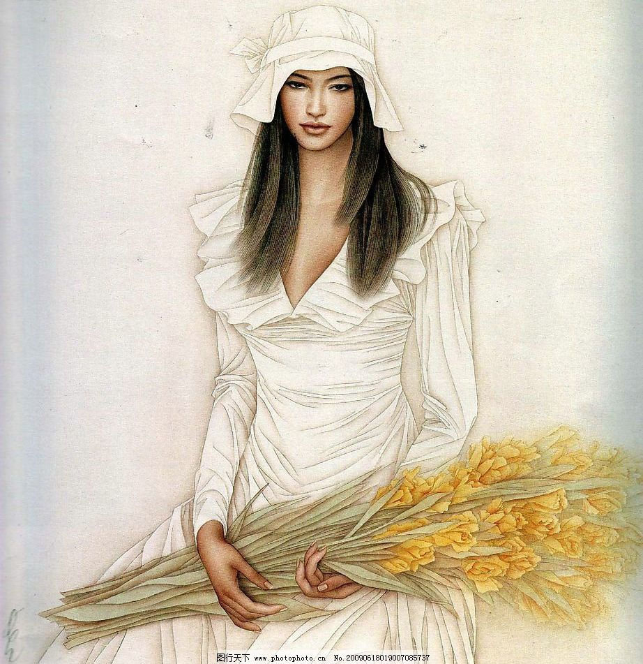 花香 中国工笔画 花 人物 美女 妇女 服饰 文化艺术 绘画书法 设计