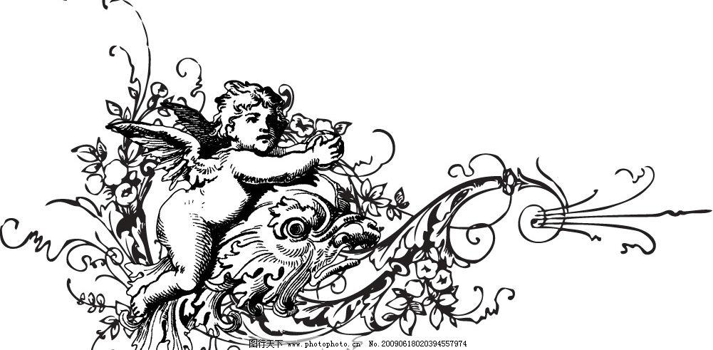丘比特花纹 黑白花纹 国外天使 丘比特 底纹边框 花纹花边 矢量图库 a