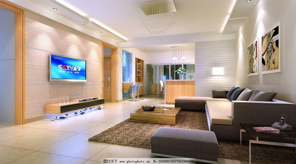 现代客厅 白橡饰面板 灰色布艺沙发