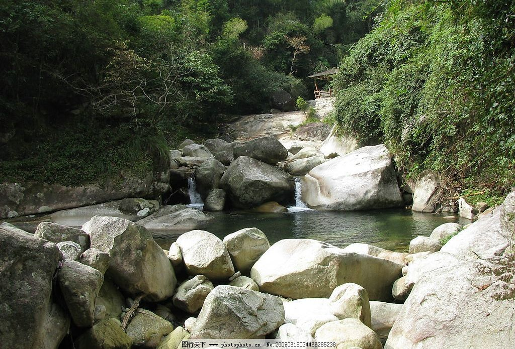 高山流水 石头 流水 清澈 宁静 阳光 自然景观 山水风景 摄影图库 180