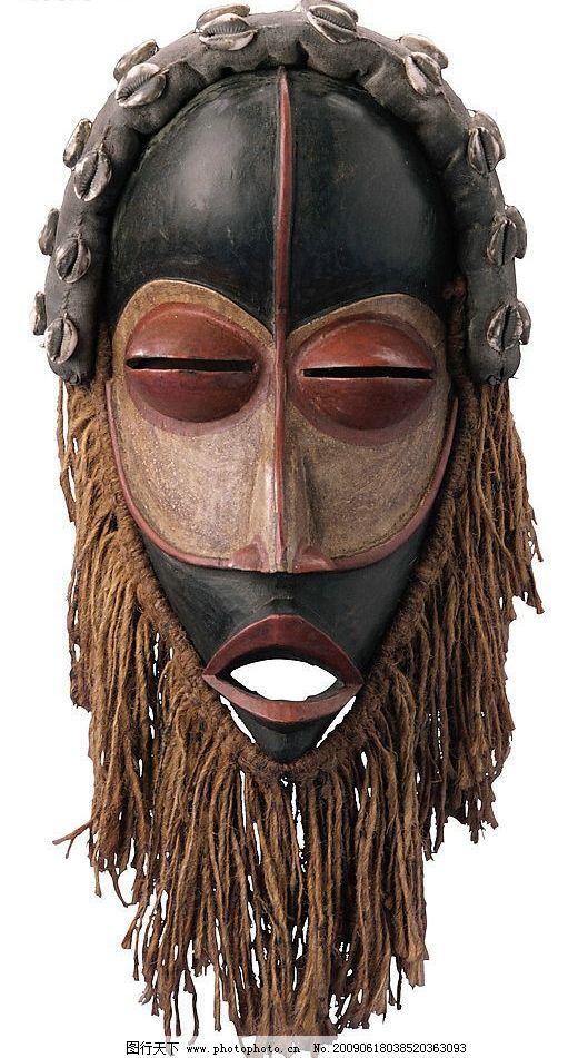 非洲印象 面具 木雕 彩绘 白色背景 文化艺术 传统文化 摄影图库 300