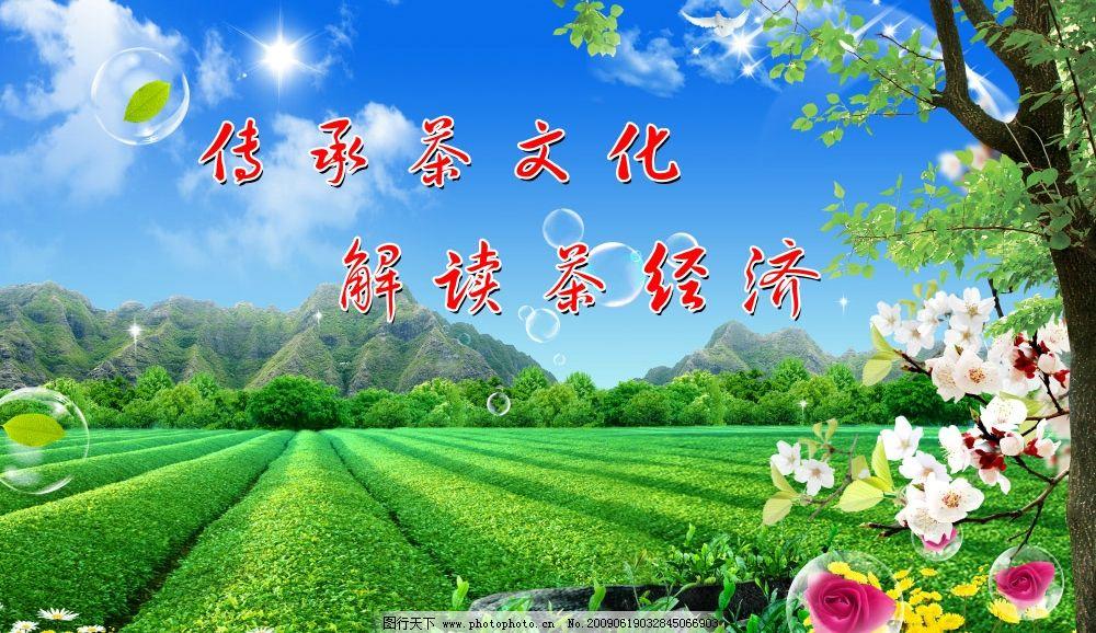 茶山 茶园 茶叶 高山茶 大山 蓝天白云 大树 鲜花 丛林 茶道