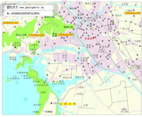 无锡市-矢量地图