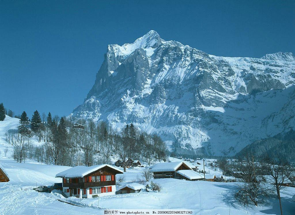 欧洲风景 欧洲 风景 雪山 树林 蓝天 雪 高山 房屋 自然景观 自然风景