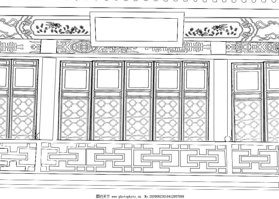 古代门窗 古建筑白描 素材拼合 照片勾线 动漫动画 风景漫画 设计图库