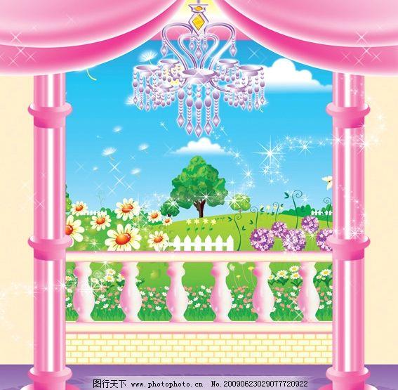 风景 室外风景 柱子 栏杆 吊灯 室内装饰图 其他设计 源文件库