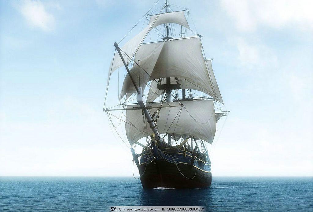 海上帆船 海上船舶 海面 行驶 海水 海洋 蓝天 白云 现代科技